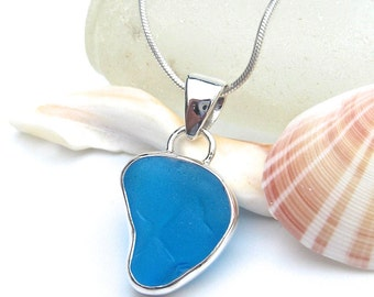 Turquoise Sea Glass Pendant   Beach Glass Pendant   Sea Glass Jewelry   Beach Glass Jewelry   Sterling Silver   Wire Wrapped   Pendant