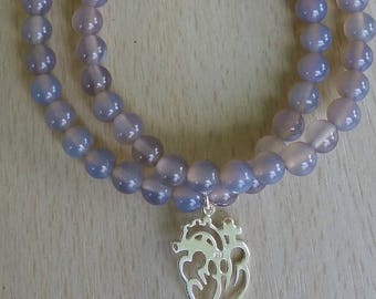 Double stack Gray Agate Mala Bracelet with Anatomical Sterling Heart