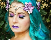 Flower Crown Silver and Lavender, Floral Crown, Headpiece, Wedding Headpiece, Wedding Accessory, LOTR, Cosplay, Fairy, Renaissance, Costume