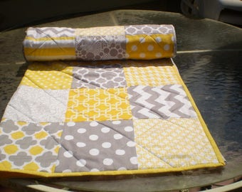 Handmade Baby Quilt, baby girl quilt, baby boy bedding, patchwork crib quilt, grey, yellow,modern, chevron, toddler, crib, Mellow Yellow