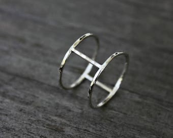 Sterling silver cage ring - industrial ring - architectural ring - minimalist ring - silver bar ring - modern jewelry - edgy