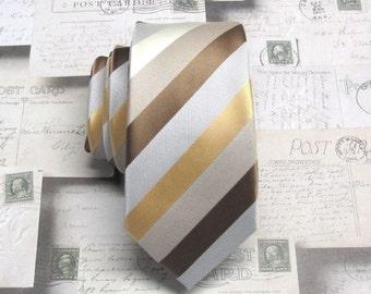 Mens Ties Skinny Tie. Brown Gold Ivory Taupe Gray Stripes Skinny Necktie