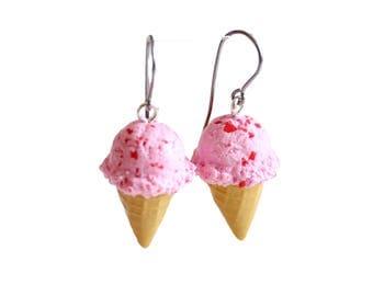 Ice Cream Earrings, Polymer Clay Food Jewelry, Pink Strawberry Ice Cream Cone Jewelry, Miniature Food