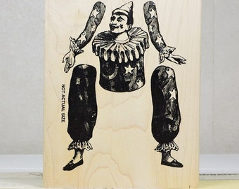 Wood Mounted Rubber Stamp, Clown Paper Doll by Stampers Anonymous, Gently Used