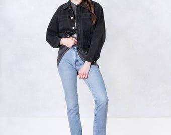 BLACK DENIM JACKET cropped 90s vintage Lizwear Liz Claiborne coats women Jean jacket / Small