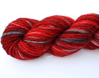 Lady Bug--hand dyed Bulky weight, merino superwash (106yds/100gm)