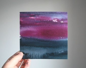 """Haze at Dusk, Original Abstract Waterscape Painting, Watercolour, 5"""" X  5"""""""
