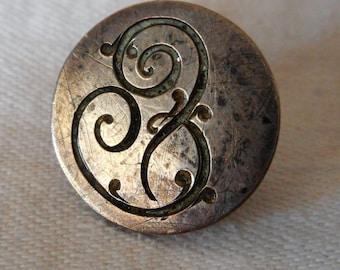 ANTIQUE Script Intial Monogram Silver Button