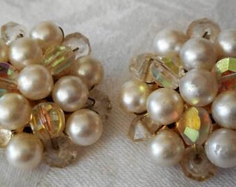 Vintage Rhinestone & Faux Pearl Beaded Costume Jewelry Clip Back Earrings