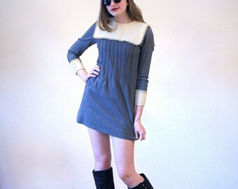 Mimi, 60s Gray Wool Mini Dress, Mod Mini Dress, Micro Mini Dress, Twiggy Dress, Vintage Lord & Taylor 60s Go Go Dress, XS