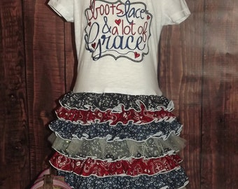 Boots, Lace, Lots of Grace, Ruffled T-Shirt Dress, Bandana Print, Country, Frilly, Western Wear, Rodeo