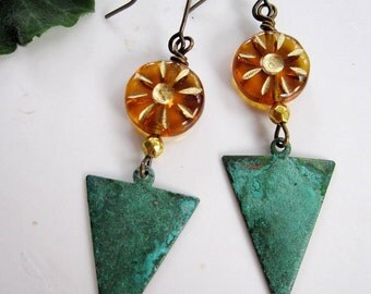 Patina Earrings, Triangle Earrings, Geometric, Art Deco, Bohemian, Topaz Sunburst, Verdigris Patina, Modern, Gardendiva