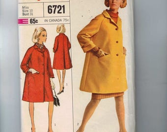 1960s Vintage Sewing Pattern Simplicity 6721 Women's Pea Coat Back Vent Winter Outerwear Size 10 Bust 31 1966 60s