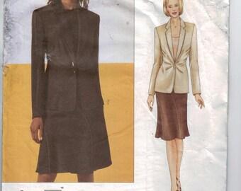 Misses Sewing Pattern Vogue 2708 Donna Karan New York DKNY Womens Suit Skirt Jacket A Line Size 8 10 12 Bust 31 32 33 34 UNCUT