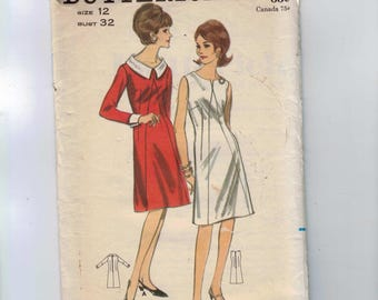 1960s Vintage Sewing Pattern Butterick 3734 Misses Sheath Dress with Portrait Neckline Collar Cuffs Diagonal Front Seam Size 12 Bust 32 60s