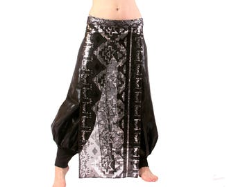 Panel Skirt, YOUR SIZE, Accent Skirt, Black & Silver, Sequins, Tribal Fusion Belly Dance, Priestess, Cabaret, Circus, Carnival, Noir,