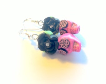 Day of the Dead Sugar Skull Earrings in Pink and Black
