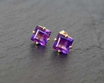 14k Amethyst Square Studs: yellow gold, natural purple gemstone earrings, 5mm square step cut stone, princess shape, four prong, February