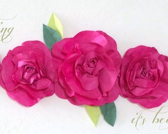 2 ft Spring Fuchsia Paper Flower Rose Garland Mini Swag of Hand Dyed Fresh Spring Paper Flowers for Easter - Mothers Day - Birthday - Decor