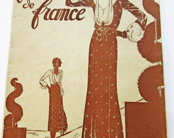 1930's Vintage French Magazine La Femme de France May, 1931 Deco Fashion and Sewing