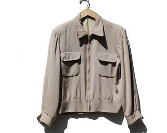 Vintage Beige Wool Short Jacket / Wool Crop Jacket