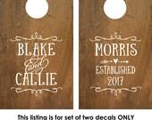 Corn Hole Board Decal | Rustic Wedding | Cornhole Board Monogram Decal | Cornhole Decal | Personalized Cornhole Game Decal