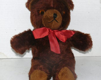 Plush Vintage Teddy Bear - Squeaky Tail - Collectible - Toy