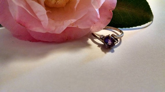 Deep Purple Amethyst Sterling Silver Ring Size 7 with Clear CZ Accents Beautiful Jewelry February Birthstone