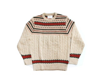 SALE - 1970's Jantzen Cabin Knit Holiday Sweater