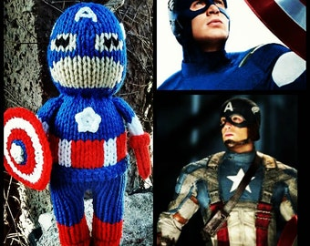 Captain America Hand Knit - Winter soldier -soft stuffed toy doll