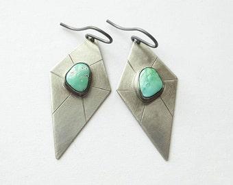Turquoise Earrings Carico Lake Turquoise Earrings Sterling Silver Earrings Shield Earrings Geometric Earrings Unique Earrings