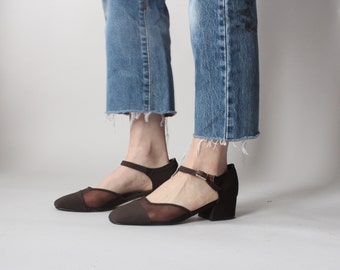 brown chunk heel maryjanes | 90s mesh mary janes 9