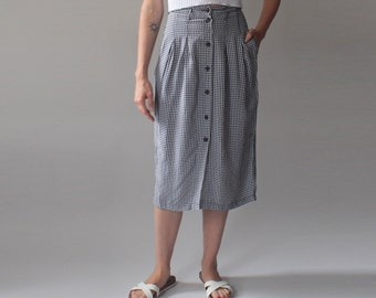gingham midi skirt | black white checker skirt | 1990s small