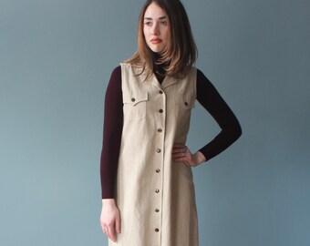 linen dress | oatmeal linen sleeveless midi dress | 1990s small