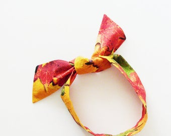 Fall Leaves Head Scarf /  Multipurpose Hair Accessory, Neck Tie, Handbag or Walker Adornment, Pet Neckerchief / Rockabilly Gift Under 25