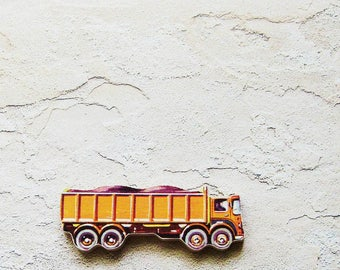 1960s Rock Hauler Truck Brooch - Pin / Upcycled Vintage Hand Cut Wood Road Vehicle Puzzle Piece / Orange Brown Black / Unique Gift Under 30