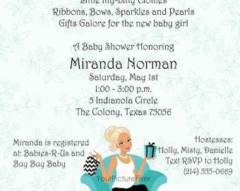 Chevron Shopper Baby Shower Invitation