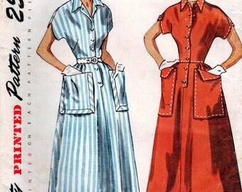 1950s Simplicity 3289 UNCUT Vintage Sewing Pattern Junior Misses Shirtwaist Dress Size 13 Bust 31