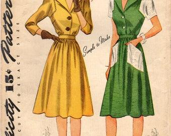 1940s Simplicity 4294 FF Vintage Sewing Pattern Misses Shirtwaist Dress, Afternoon Dress, House Dress, One Piece Dress Size 12 Bust 30