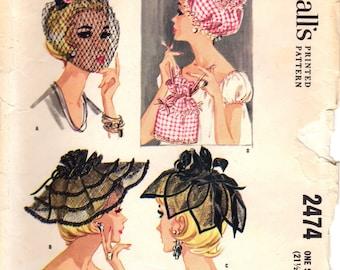 1960s McCall's 2474 Vintage Sewing Pattern Misses Petal Hat, Circlet, Chapel Hat, Nightcap, Curler Bag One Size (21-1/2 - 22-1/2 Head Size)