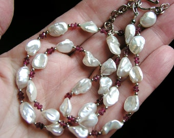 Keishi Pearl, Garnet and Sterling Necklace - White Nugget Keshi Pearls with Faceted Gemstones