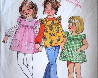 Vintage 70's Simplicity 5479 Sewing Pattern, Girls/Toddler Smock-Dress or Top and Blouse, Size 2, Retro 1970's Kids Fashion