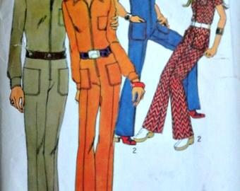 Vintage 70's Simplicity 9596 Sewing Pattern, Misses' Jumpsuit, Size 14, 36 Bust, Uncut, Retro Mod 1970's Fashion