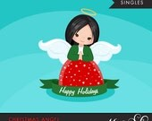 Christmas Angel Clipart 2. Dark Brunette, holiday, ornaments, illustration, graphic, cute, character, religious
