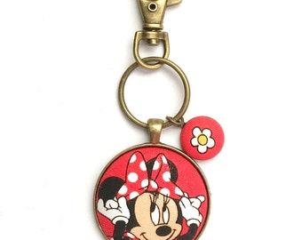 Minnie Mouse Keychain, Fabric Button Keychain, Disney Keychain, Fabric Button, Disney, Stocking Stuffer, Teacher Gift