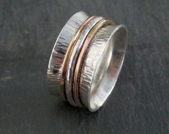 Silver and gold spinner ring / meditation ring / silver spinning ring / recycled sterling silver ring / anxiety ring / silver fidget ring