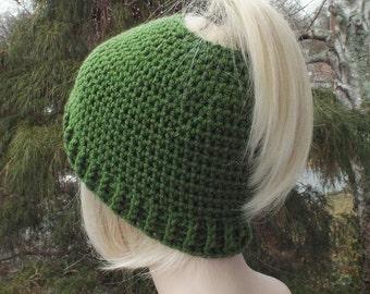 Womens Messy Bun Hat, Basil Green Crochet Hat, Ponytail Beanie, Winter Hat, Ski Hat, Winter Accessories, Messy Bun Beanie