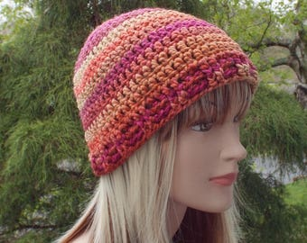 Womens Beanie, Crochet Hat in Sunset Multicolor, Winter Hat, Skull Cap, Ski Hat, Winter Accessories