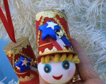 Vintage Style Fourth of July Ornament  - Band Leader Satin Head, Parade, ONE