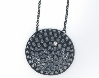 Large pendant necklace/ Big round oxidized sterling silver/ White gemstone/ Modern black minimal statement/ 17 inch chain/ NPROXCZ-40mm